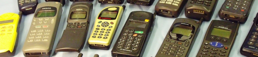 A collection of GSM mobile phones