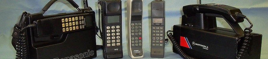 A collection of first generation analogue TACS mobile phones